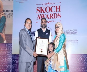 Mrs Ramshida TC has been presented SKOCH award by Reserve Bank of India officials for E governance service delivery in India for the year 2017